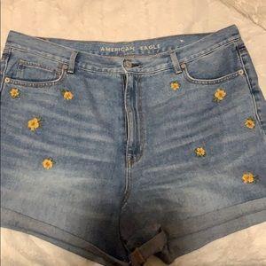 Pants - American eagle embroidered floral denim MOM SHORTS